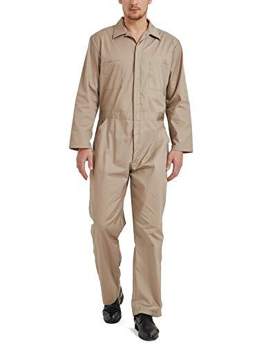 TOPTIE Men's Regular Long Sleeve Snap Zip-Front Coverall-Khaki-L