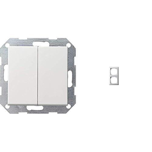 Gira 012503 Tastschalter Serien System 55, reinweiß & 021203 Rahmen 2-fach ST55, reinweiß-glänzend