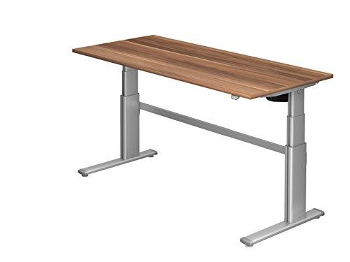 Ergobasis Schreibtisch elektrisch höhenverstellbar 63 bis 128 cm, Sitz-Steh-Tisch Version 2020 mit Arbeitsplatte 180 x 80 cm (Zwetschge)