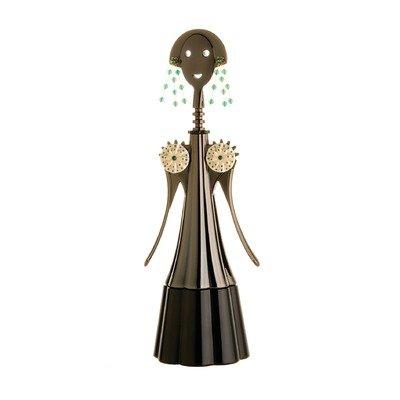 Alessi OFFICINA AM01G4–Anna Etoile Korkenzieher Zamak mit Beschichtung in PVD, schwarz. Anwendungen in Silber, Gold und Achat grün. Serie begrenzt A 99nummerierten Exemplaren.