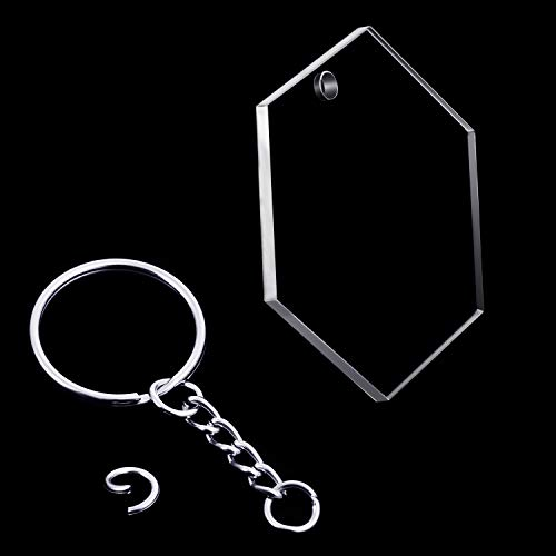 24 Pieces Acrylic Transparent Discs and 24 Pieces Key Chains Clear Acrylic Keychain Blanks for DIY Projects and Crafts, 2 Inch (Hexagon)