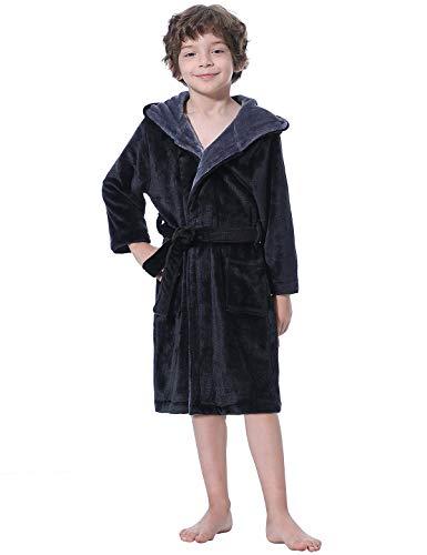Abollria Kinder Bademantel Mädchen Jungen Morgenmantel Fleece Kinderbademantel Langarm Saunamantel Winter Hausmantel Mit Kapuze und Taschen