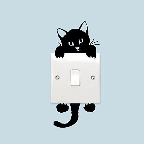 Rekkles DIY Gato Negro Lindo Interruptor Decal Papel Pintado Pegatinas de Pared reemplazo para la decoración del hogar