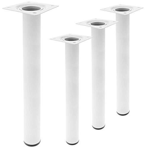PrimeMatik - Pies Redondos para Mesa y Mueble. Patas en Acero Blancas de 40cm 4-Pack