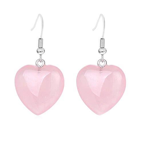 Purmy Cuarzo rosa Las mujeres cuelgan los pendientes,Forma de corazón de amor Aretes de Chakra para el amante