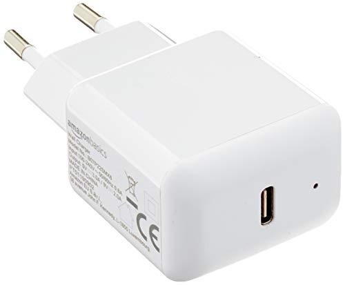 Amazon Basics - Cargador de pared USB-C de un puerto de 18 W para móviles - Blanco