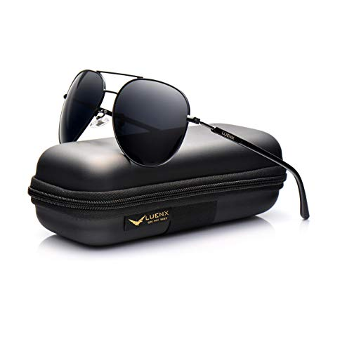 LUENX Aviator Sunglasses Mens Women Polarized Black Lens Black Metal Frame Dark 60mm with ...