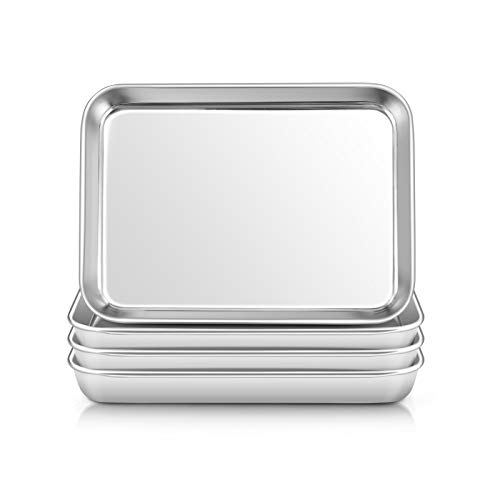 "Stainless Steel Kids Plates, E-far 4 Pieces Mini Metal Dinner Dish Set for Kids Toddler Child, 7.3"" x 5.3"" x 0.75"", Non-Toxic & & Dishwasher Safe, Great for Self-Feeding/Picnic/Outdoor Camping"