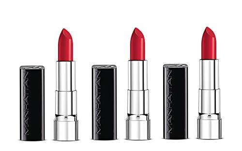 Manhattan Moisture Renew Lipstick, cremiger Lippenstift, feuchtigkeitsspendend, intensiv, langanhaltend (3er Pack) (500 Muse Red)