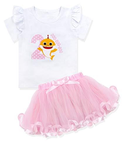 Baby Girls Shark and Doo Doo Doo Romper + Tutu Dress 2nd Birthday Outfit Set 2T Light Pink
