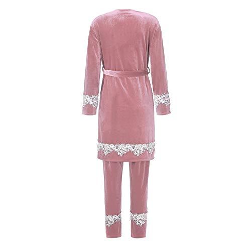 Pistaz Women's Warm Velvet Long Sleeve Pyjama Sets Soft 3 Piece Sexy Lace Backless Cami Dress with Chest Pads