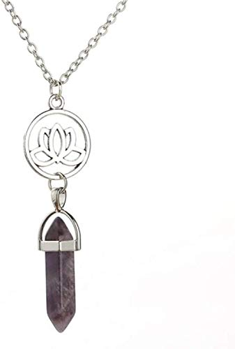 NC188 Collares Pendientes de Piedra para Mujer Collares Pendientes de Plata de Loto de Piedra Natural púrpura con Cadena de Plata Adornos navideños Regalo para Mujeres