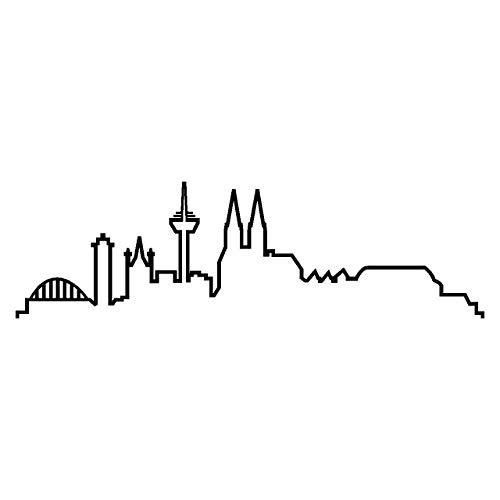 plot4u Köln Skyline Aufkleber Silhouette 20x5,8cm schwarz