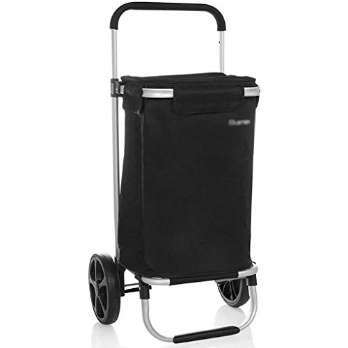 NSDFG Wagen Warenkorb Push-Pull mit Einkaufstasche, Kapazität 36 Liter, Aluminium Rahmen und dreirädrige Crown