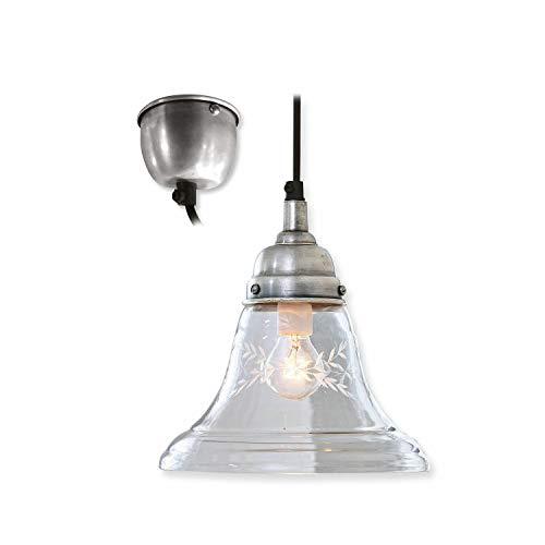Loberon Hängelampe Ethia, Glas, Messing, Messing, H/Ø 20/19 cm, klar, E14, max. 25 Watt, A++ bis E