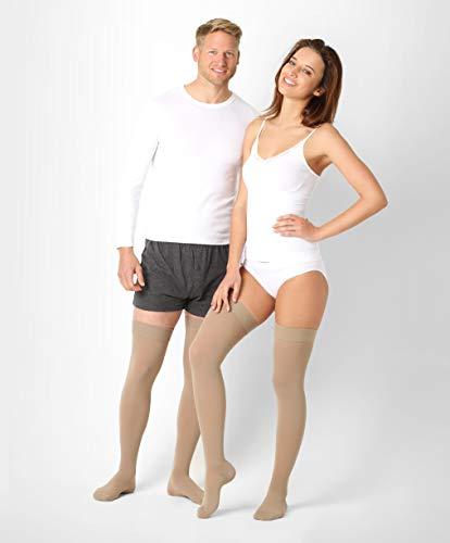 ®BeFit24 Oberschenkel medizinische Kompressionsstrümpfe (23-32 mmHg, 120 Den, Klasse 2) für Damen und Herren - Stützstrümpfe Schwangerschaft - Medical Compression Stockings - Beige