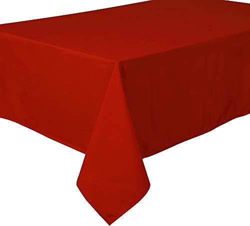 Home Direct Mantel Antimanchas, poliéster, Rectangular 140 x 240cm Rojo