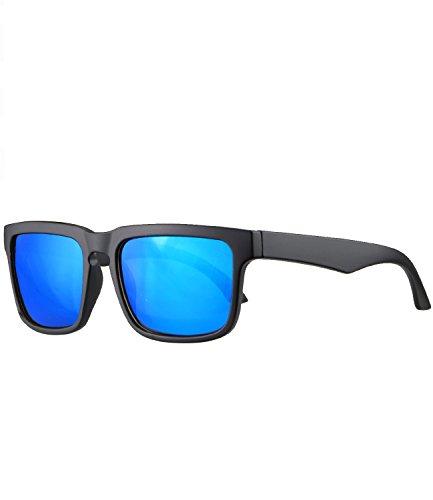 Caripe Sonnenbrille rechteckig sportlich leicht Retro Vintage Damen Herren Sport verspiegelt - relol (schwarz matt - blau verspiegelt-2025)