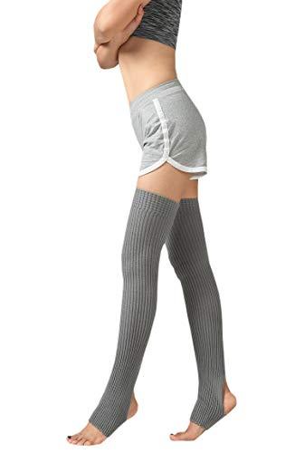 YueLian Damen Overknee Stulpen mit Fersenloch Strick Beinlinge Socken(Grau)