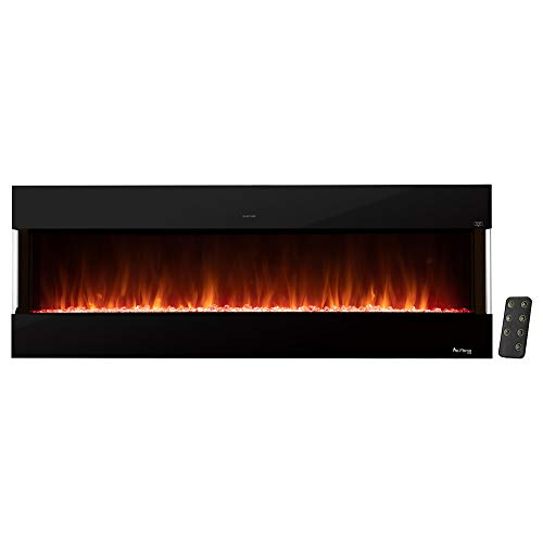 e-Flame USA Hampshire 60-inch Wall Mount / Wall Insert LED Electric Fireplace with Timer - 3-D Logs and Fire Effect - New 2021 Model
