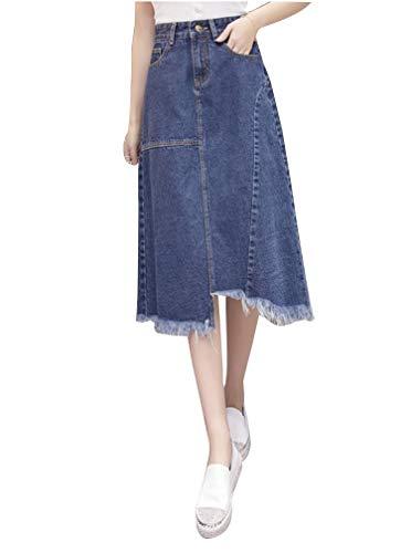 HX fashion Dames Lange Spijkerrok Kokerrok Elegante Comfortabele Maten Denim Spijkerrok Met Zakken Knopen Outdoor Denim Rokken (Color : Als Bild, Size : 4XL)