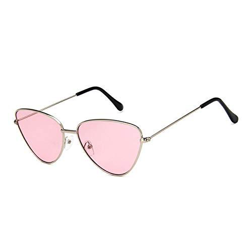 YUANCHENG Pequeñas gafas de sol vintage con ojos de gato para mujer Gafas de sol negras rojas vintage para mujer Gafas con ojos de gato para mujer Gafas retro plata-rosa