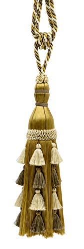 Blanc élégant, Beige sur Doré Rideau Grande et Draperie Multi-Niveaux Tassel Embrasse/33 cm Tassel, 89 cm de Propagation (Embrace), Style # Tbar13 Couleur : Bouleau – AR01
