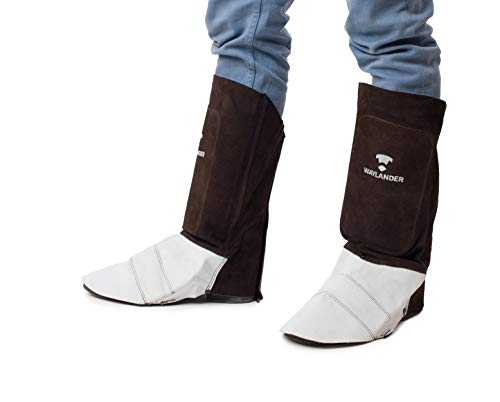 Waylander Leather Welding Spats - Cowhide Leather Shoe Boot Protectors Covers - Kevlar Stitched High Top Gaiters with Shin Shield - SC0213