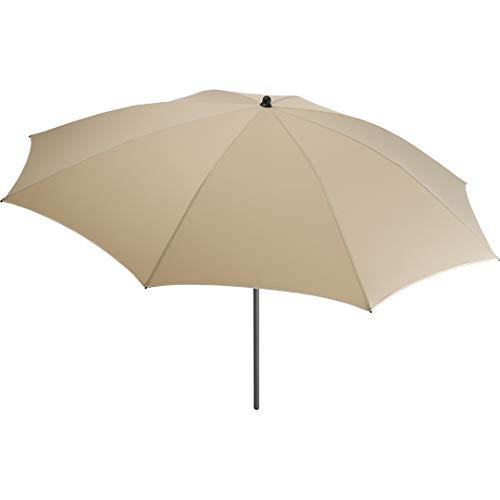 FARE Sonnenschirm Modern Gr. M - 177cm Durchmesser - UV-Schutz 50+ für Balkon Garten Terrasse Sommer - Titan-Finish inkl. Drehfeststeller Sicherheitsschieber Tragetasche (Natur)
