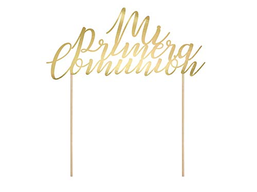 PartyDeco Decoración para Tarta Mi Primera Comunión en Dorado - First Communion