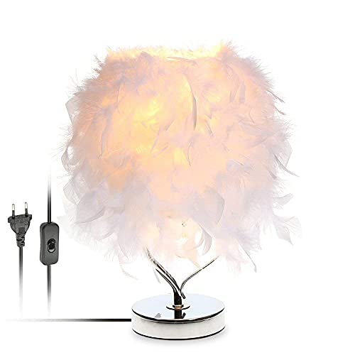 DAI QI Escritorio de cabecera de Plumas Vintage Noche Luz Shade Metal Lámpara de Mesa Decoración de Navidad Soft Vintage Dormitorio Sala de Estudio Blanco (Lampshade Color : EU Plug)