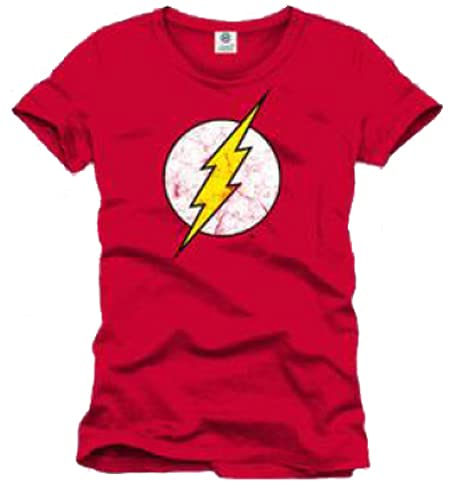 COTTON DIVISION Flash Logo T-Shirt, Rouge, XX-Large (Taille Fabricant: XXL) Homme