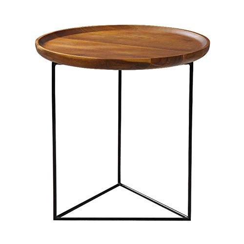GAOLIM Retro madera maciza sofá mesa lateral bandeja pequeña mesa redonda negro hierro arte teléfono mesa nórdico sala mini mesa de café