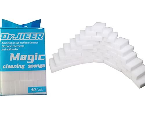 Dr.JIEER eponge magique Gomme Magique effectuer Magique Extra Puissante Nettoyante Effaceur De Taches 2X plus résistant ,Lot de 50 .Pouvoir nettoyant concentré - Blanche 10x6x2cm