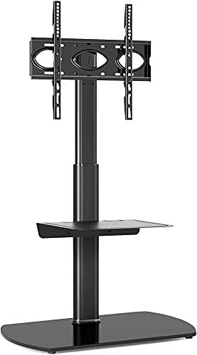 TabloKanvas TELEVISOR Soporte de Suelo TELEVISOR Soporte Giratorio con 2 estantes para 32-60 Pulgadas Pantalla Plana y Curvada con Soporte Slim Cantilever (Color : Black)