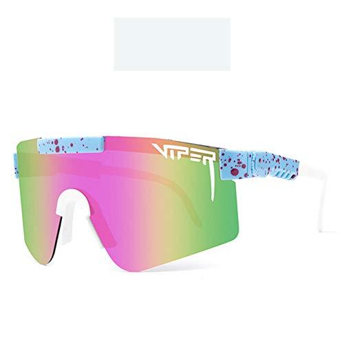 JIASENRATE Nuevos Gafas de Sol Deportivas de Ciclismo One Piece Colorido Cine Real Gafas de Sol Gafas polarizadas al Aire Libre Moda de Marco Grande Fresco,13