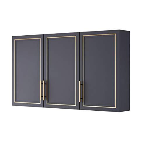 Svart Tre-dörrslackerat Köksskåp För Sovrumsbadrum Väggförvaringsskåp Sovrumsförrådslager Överskåp Väggskåp Garderobskåp (Color : Black, Size : 60 * 90 * 30cm)