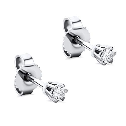 Orovi Damen Ohrringe mit Diamanten Weißgold Solitär Ohrstecker 14 Karat (585) Gold und Diamant Brillanten 0.12 Ct Ohrring Handgemacht in Italien