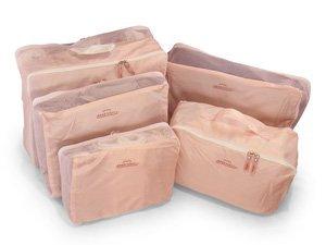 アレンジケース・インナーバッグ 5点セット 旅行・スーツケース・整理整頓 (ピンク)