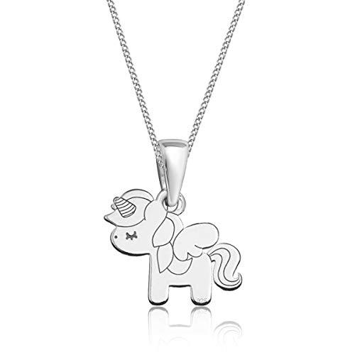 Gravur kleine Tiere Anhänger mit Halskette 925 Echt Silber Mädchen Kinder (M3) Einhorn / 23x14mm,...