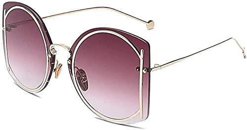 Gran marco cubierta cara personalidad sin montura gafas de sol liso gradación color moda mujeres s gafas de sol, C63,