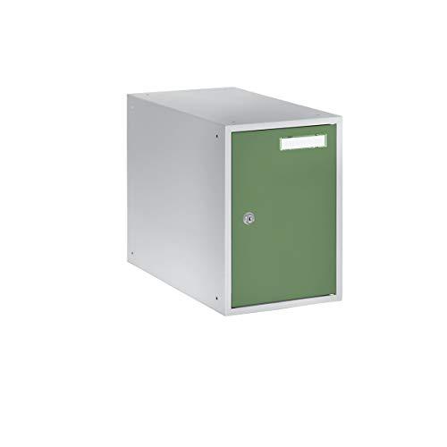QUIPO Casier verrouillable - h x l x p 350 x 250 x 450 mm - corps gris clair - portes vert réséda - vestiaire petit modèle - casier consigne - caisson métallique effets personnels