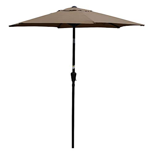 Sundale Outdoor 7.2 ft Patio Umbrella Table Market Umbrella with Push Button Tilt & Aluminum Pole, Polyester Canopy for Garden, Deck, Backyard, Pool (TAN)