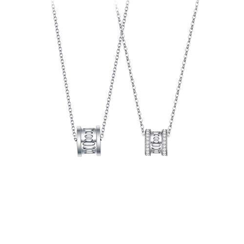 Yuansr Collar de Plata esterlina 925, Colgante de círculo Collar de Pareja, Pareja Cadena de Amistad de Amistad Amantes día de San Valentín Regalos para Hombres y Mujeres (Color : A)