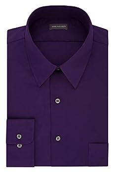 Van Heusen mens Fitted Poplin Solid Dress Shirt Purple Velvet 15.5 Neck 32 -33 Sleeve Medium US
