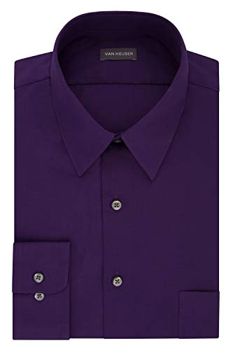 Van Heusen Men's Dress Shirt Fitted Poplin Solid, purple velvet, 17' Neck 32'-33' Sleeve