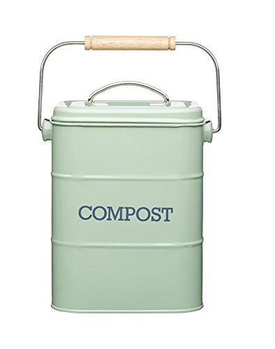KitchenCraft Living Nostalgia Metall Küchen Bioabfallbehälter, Arbeitsplatte/Unterschrank Mini Kompostlager und Recycling Lebensmittelabfall Behälter, mit Kohlefilter, 16,5 x 12 x 24 cm – Sage Green