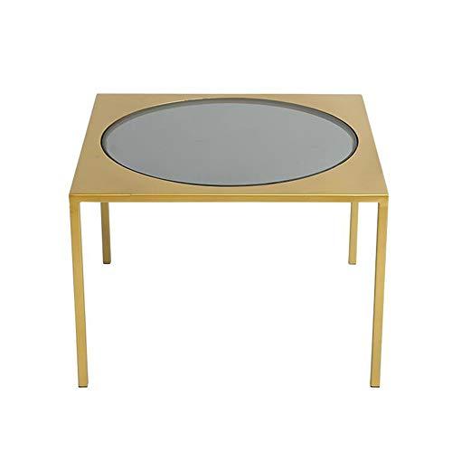 Jcnfa Bijzettafel van metaal/glas, vierkante salontafel voor woonkamer, bijzettafel, goudkleurig