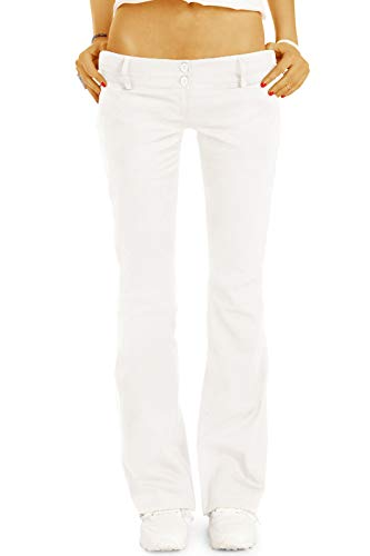 bestyledberlin BE Styled Damen Chinos - Stoffhosen - Bootcut Hüfthosen mit Stretch h17a 42/XL Weiss