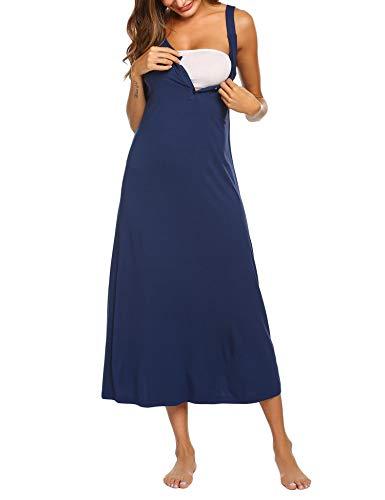 MAXMODA Femme Chemise de Nuit Manche Courte Robe de Nuit Maternité Pyjama d'allaitement Bleu Marine M